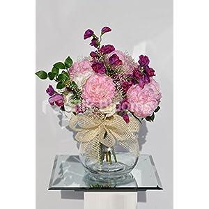 Sweet Artificial Pink Peony Fishbowl Vase Display with Fuschia Sweetpea 53