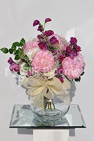 Sweet artificial rosa peonía pecera Jarrón pantalla con Sweetpea - Fucsia: Amazon.es: Hogar