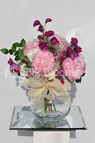 Sweet Artificial Pink Peony Fishbowl Vase Display With Fuschia