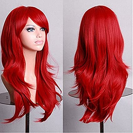 Pymega(TM) Harajuku Cosplay Wig Red 58CM Curly Wave Hair Long Synthetic hair pad