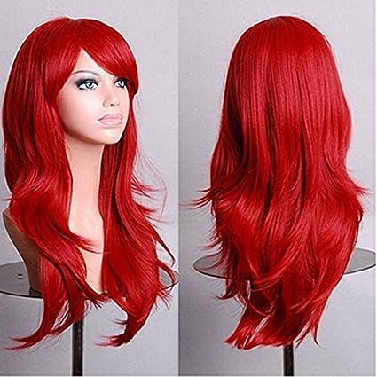 Pymega(TM) Harajuku Cosplay Wig Red 58CM Curly Wave Hair Long Synthetic hair pad