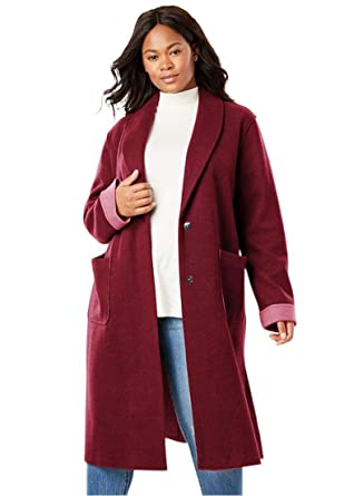 16d9eb96862 Woman Within Plus Size Lightweight Wool Double-Faced Coat at Amazon Women s  Clothing store