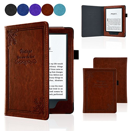 ACdream All-New Kindle 8th Generation 2016 Case, Form Fitting Premium Leather Cover Case for 2016 All-New Kindle 6 E-Reader with Auto Wake Sleep Feature, Vintage Brown