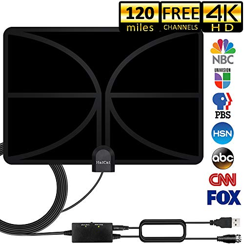 HDTV Antenna 120+Miles Long Range Indoor Digital HDTV Antenna with 2019 Newest Amplifier Signal Booster USB Power Supply and 16.5 Feet Highest Performance Coaxial Cable