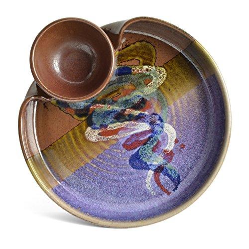 Larrabee Ceramics Chip and Dip Platter, Burgundy/Multi