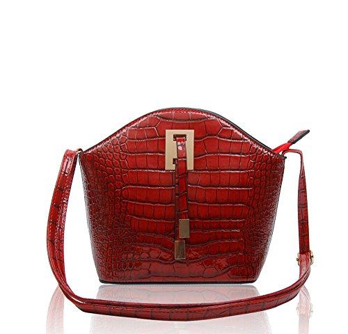 Print Women's Croc Red New Small Ladies 23x21x10 Handbag Wine Crossbody Messenger Bag Shoulder Leather Patent Shiny CM dtRqwrR
