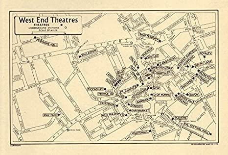 West End Theatres London Map.Amazon Com London West End Theatres Geographers A Z 1964 Old