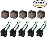 Ehdis® [5 Set] Car Truck Motor Relay Socket with Connector Heavy Duty 12V 100A SPST Waterproof Seal Transparent Case 4 Pin 4 Wire JD2912