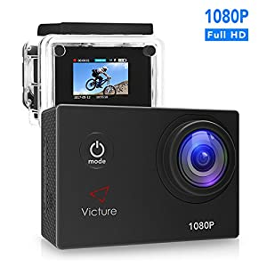 Action Camera 1080P 12MP Waterproof Sports Camera 30M Underwater Diving Camera Action Cam with 170 Wide Angle and Rechargeable Battery