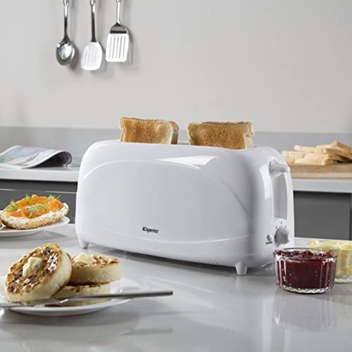 Auto Shut Off White Removable Crumb Tray Elgento 4-Slice Long Slot Toaster with 6 Variable Browning Settings 1200 W