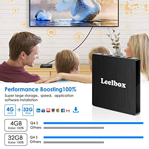 Android 8.1 TV Box, Android Box 4 GB RAM 32 GB ROM, Leelbox Q4s RK3328 Quad Core 64 bit Smart...