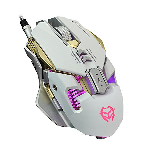 Gaming Mouse, 3200DPI with 7 Programmable Buttons LED Backlight Optical USB Mice Professional Mechanical Game Mice - Support Macro Programming (Aluminum Base ) (White) (Raptor Gaming Headset)