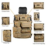 Seat Cover Case fit Jeep Wrangler Unlimited CJ YJ Cherokee Rubicon Ford F150 Ridgeline Seat Protector with Multiple Pockets Heavy Duty Seat Back Car Organizer Storage Muti Pocket Holder (Khaki)