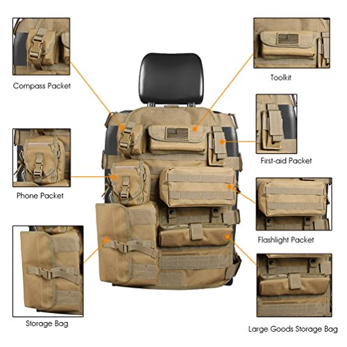 Seat Cover Case for Jeep Cherokee CJ YJ Rubicon Ford F150 Ridgeline Dodge Toyota Chevy Organizer Storage Muti Compartments Holder Pockets (1PC)
