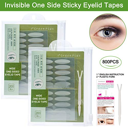 800 Pcs Natural Invisible Double Eyelid Lift Strips Waterproof One Side Eyelid Tape Stickers, Instant Eye Lift Without Surgery, Perfect for Hooded, Droopy, Uneven, or Mono-eyelids, 400 Pairs Wide Size (Surgery Lift Eyelid)