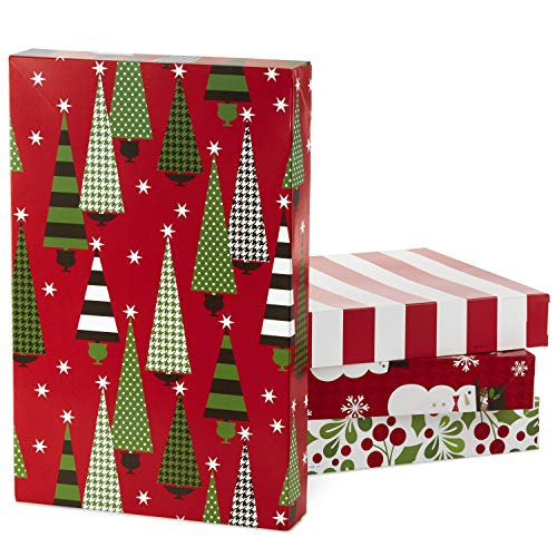 Hallmark Christmas Gift Box Assortment, Patterned Shirt Boxes with Lids for Wrapping Gifts (Pack of 12) -