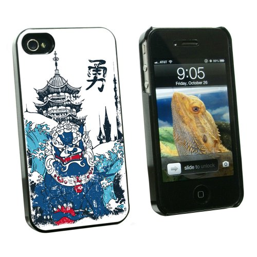 Pagoda Dragon (Graphics and More Chinese Dragon Waves and Pagoda - Snap On Hard Protective Case for Apple iPhone 4 4S - Black - Carrying Case - Non-Retail Packaging - Black)