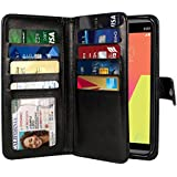 NEXTKIN LG V20 Case, Leather Dual Wallet Folio TPU Cover, 2 Large Pockets Double flap Privacy, Multi Card Slots Snap Button Strap For LG V20 VS995 H990 LS997 H910 H918 US996 - Black