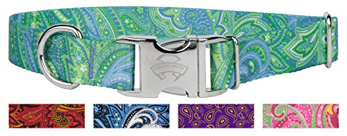 10 - Country Brook Design Green Paisley Premium Dog Collars - Medium