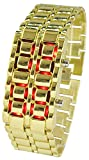 Youyoupifa Men's Stainless Steel Lava Red LED Digital Bracelet Watch (Gold)