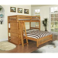 American Furniture Classics Honey-stained Pinewood Twin-over-full Loft Bed With Six-drawer Chest, Matching Desk Hutch, and Chair
