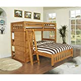 American Furniture Classics Brown Pine, Wood Loft Bed Twin Over Full Bunkbed with 6-drawer Chest