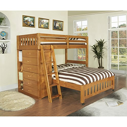 American Furniture Classics Honey-stained Pinewood Twin-over-full Loft Bed With Six-drawer Chest, Matching Desk Hutch, and Chair by American Furniture Classics