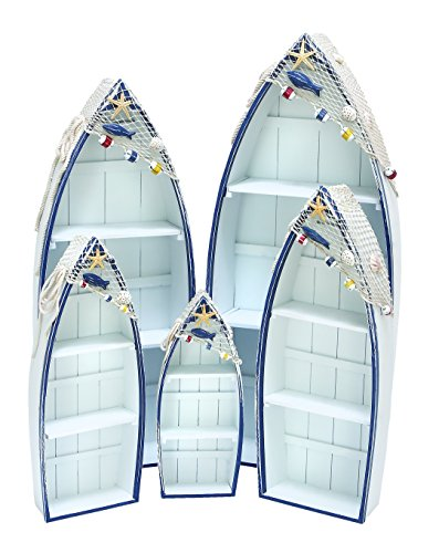 Deco 79 Wooden Contemporary Boat for Storage, White and Blue, Set of 5