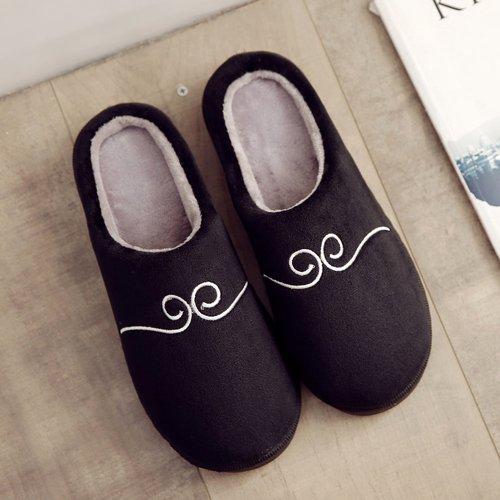 Hogar Zapatillas Cálido Antideslizamiento Zapatos Invierno Felpa Casa Negro Zapatillas De Laxba fYq7S7w