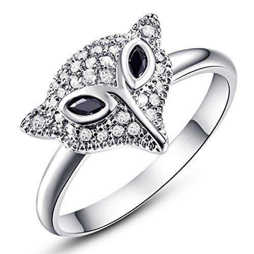 (Veunora 925 Sterling Silver Created Marquise Cut Black Spinel Filled Cute Fox Ring for Young Girls Size)