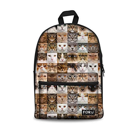 HUGS IDEA Cats Face Pattern Cute Kids School Bags Outdoor Travel Backpack for Teenager Girls Boys