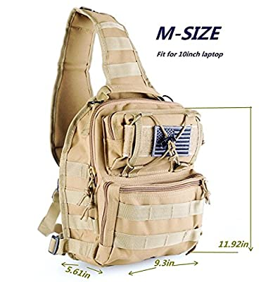 boxuan Outdoor Tactical Shoulder Backpack?+Flag Patch?, Military & Sport Bag Pack Daypack for Camping, Hiking, Trekking, Rover Sling,Chest Bag,Multi-Size Options,Multi-Color Options (TAN, M)