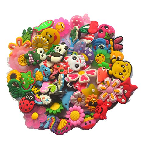 Pin Charm - Different 50 Pcs PVC Shoe Charms for Croc & Jibbitz Bands Bracelet Wristband