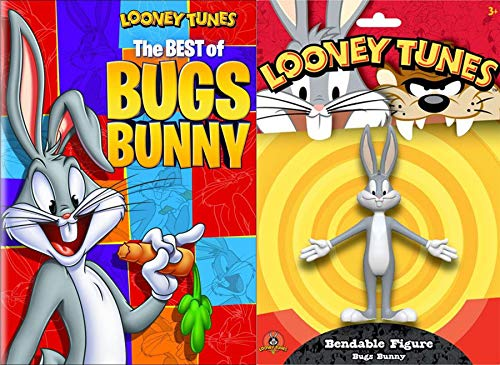 Bendable Cartoon Bugs Tales Looney Tunes Classic Best of Bugs Bunny DVD Animated + Wascally Bendy Star Figure Pack Toy Bundle (Best Of Foghorn Leghorn)