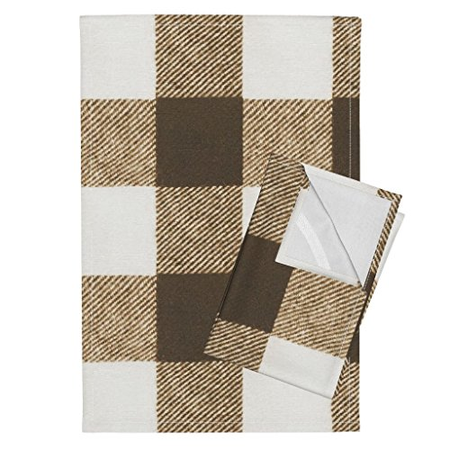 (Roostery Buffalo Check Wool Brown Chocolate Check Gingham Tea Towels Chocolate Buffalo Check by Willowlanetextiles Set of 2 Linen Cotton Tea Towels)