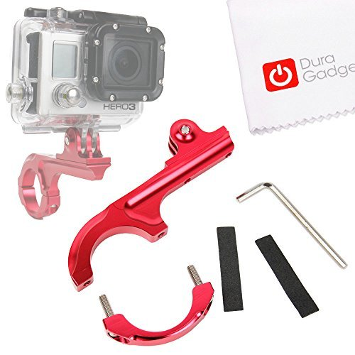 DURAGADGET Ultra-Strong Forged Aluminium Handlebar Mount in Red with GoPro Style Mount Compatible with the Eken H9 | H8 | H3 Action Camerasの商品画像