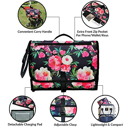 Portable Diaper Bag for Moms with Wet Wipe Pouch & Storage Space for Mom's Essentials – Thick Foam Padded Extra Comfort…