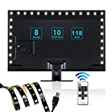 USB Bias Lighting,ProPOW LED Backlight Strip for 40-70 inch HDTV,TV Backlight Kit with RF Remote USB LED Strip Lights for Flat Screen TV,Monitor(118 inch ,Cool White, Dimmable)