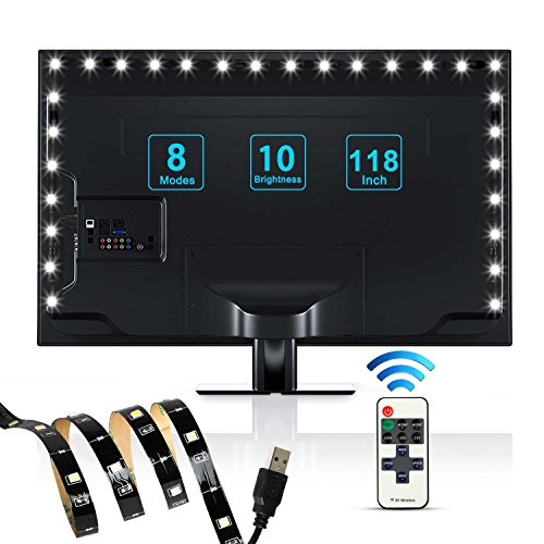 USB Bias Lighting,ProPOW LED Backlight Strip for 40-70 inch HDTV,TV Backlight Kit with RF Remote USB LED Strip Lights for Flat Screen TV,Monitor(118 inch ,Cool White, ()