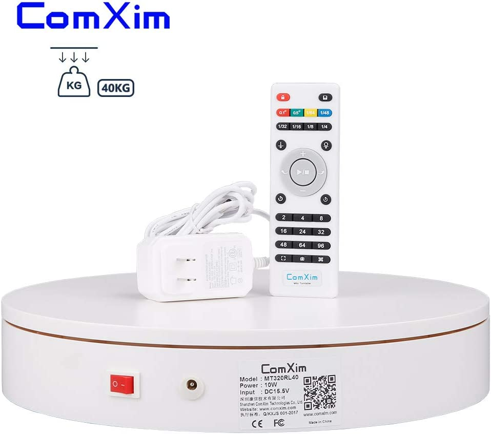 12.6in Diameter,Automatic Remote Control Angle,Speed,Direction Various Rotation Mode ComXim Professional 360 Degree Photography Turntable for Product Photography 88LB Capacity