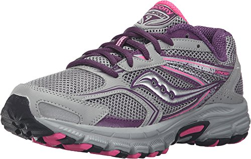 Saucony Women's Cohesion TR9 Grey/Berry/Pink Sneaker 6 D – Wide