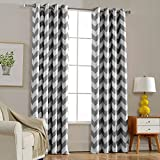 dark grey curtains ikea Melodieux Chevron Room Darkening Blackout Grommet Top Curtains, 52 by 84 Inch, Grey (1 Panel)