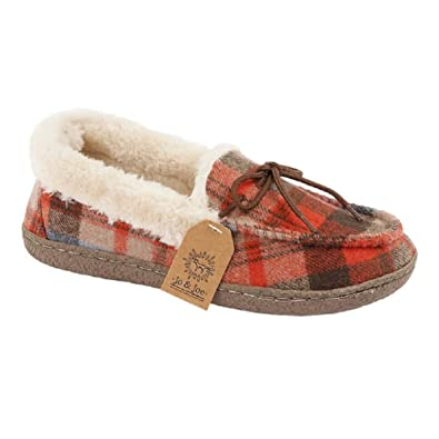 0a6f005f72913 Ladies Tartan Moccasin Slippers with Laces and Faux Fur Collar Comfortable  with Good Strong Soles Xmas Present Gift Idea Womens UK Size 3 4 5 6 7 8:  ...