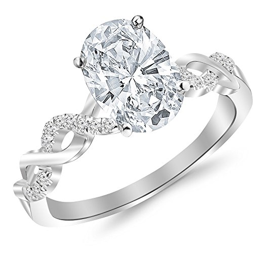 2.18 Ctw 14K White Gold Twisting Infinity Gold and Diamond Split Shank Pave Set Oval Cut GIA Certified Diamond Engagement Ring (2.05 Ct H Color SI2 Clarity Center Stone) (Gia Graded Diamond Oval)