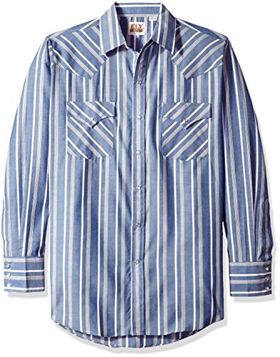 Tall Stripe Western Shirt - Ely & Walker Men's Long Sleeve Stripe Western Shirt, Blue, XX-Large