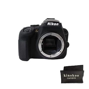kinokoo Funda protectora de silicona para cámara compatible con Nikon D3400 versión engrosada(negro)