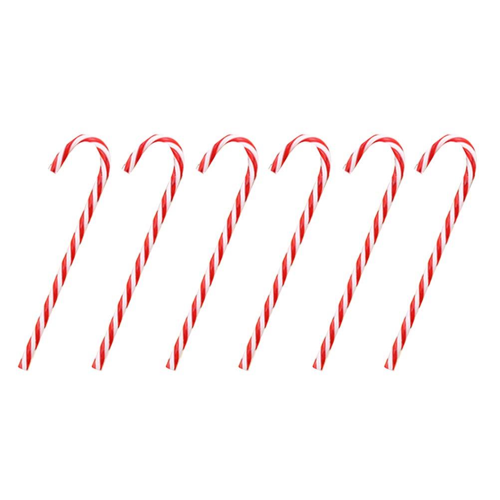 OUNONA Christmas Creativa Twinkling Candy Cane Decorazioni per Albero di Natale Lawn Stakes Decorazione della casa, Red, 12pcs
