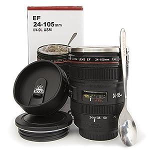 Coffee Mug - Camera Lens Coffee Mug -13.5oz, SUPER BUNDLE! (2 LIDS + SPOON) Stainless Steel, Travel Coffee Mug, Sealed & Retractable Lids! Camera Mug, Birthday Gifts for Men, by STRATA CUPS