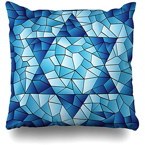 (Throw Pillow Cover Square Pillowcase 18x18 Inch Blue Hanukkah Six Pointed Star Stained Chanukah Jewish David Passover Glass Window Pattern Design Zippered Cushion Pillow Case Home Decor)