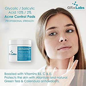 Glycolic/Salicylic Acid 10/2 Acne Control Pads with 10% Ultra Pure Glycolic Acid + 2% Salicylic Acid USP, Allantoin, Vitamins B5, C & E, Calendula & Green Tea - Helps Clear Up and Control Acne brought to you by QRxLabs